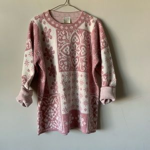 Vintage oversized cozy pink and ivory sweater